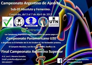 Campeonato Argentino de Ajedrez S20 en Concordia