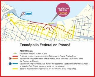 Operativo de tránsito en Parque Urquiza por la muestra Tecnópolis Federal
