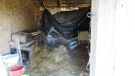 Condiciones de extrema precariedad. Vivienda deteriorada, con techo de lona plástica, sin piso ni baño.